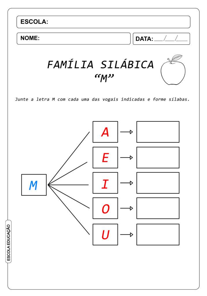 Atividade de Alfabetização Famílias Silábicas - Letra M