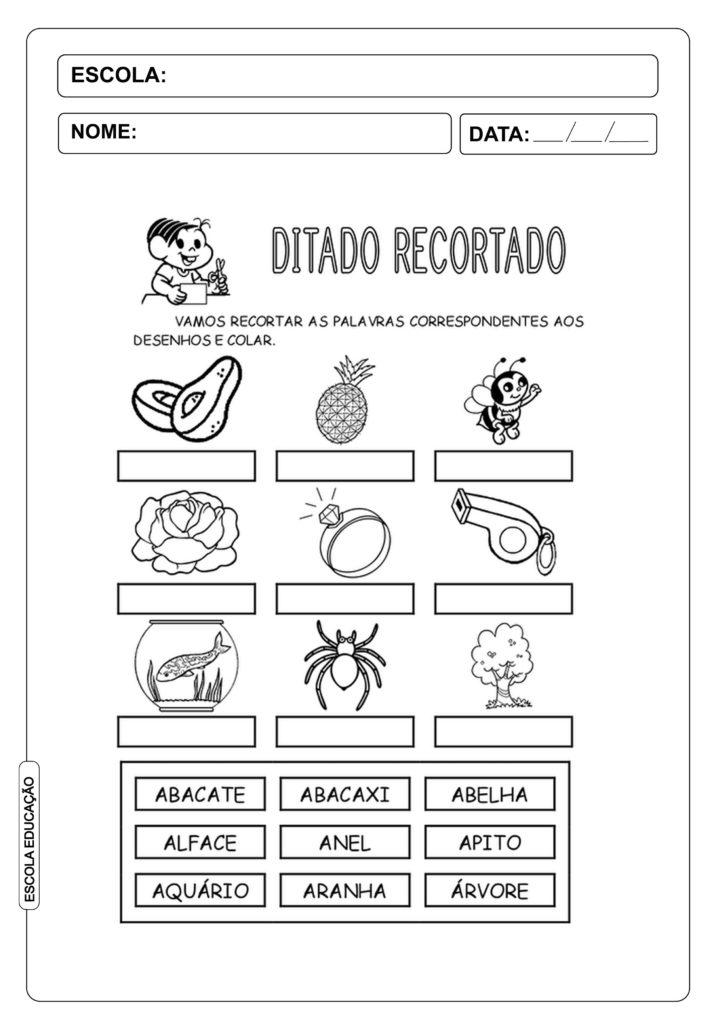 """Ditado Recortado: Atividades com a letra do alfabeto """"a"""""""