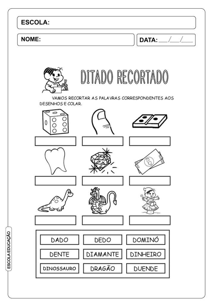 """Ditado Recortado: Atividades com a letra do alfabeto """"d"""""""