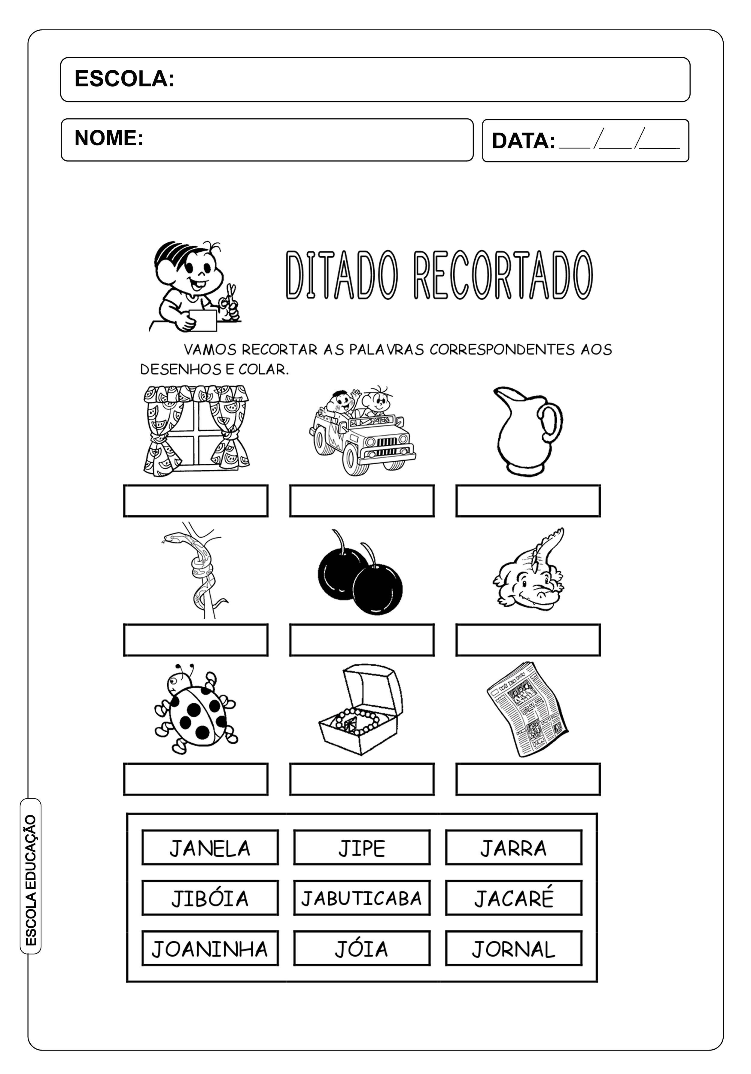 """Ditado Recortado: Atividades com a letra do alfabeto """"j"""""""