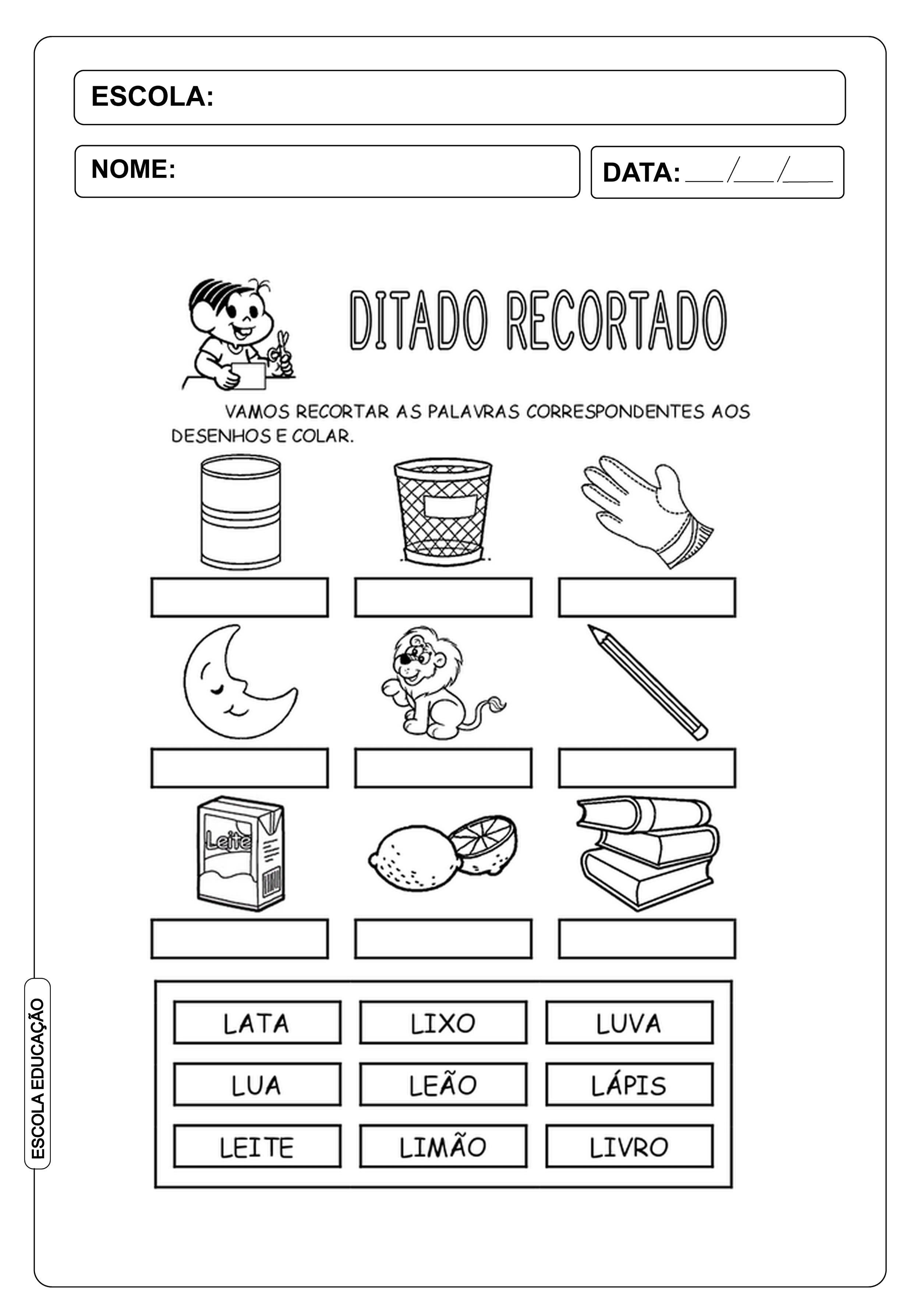 Ditado Recortado Atividades Com A Letra Do Alfabeto L Escola