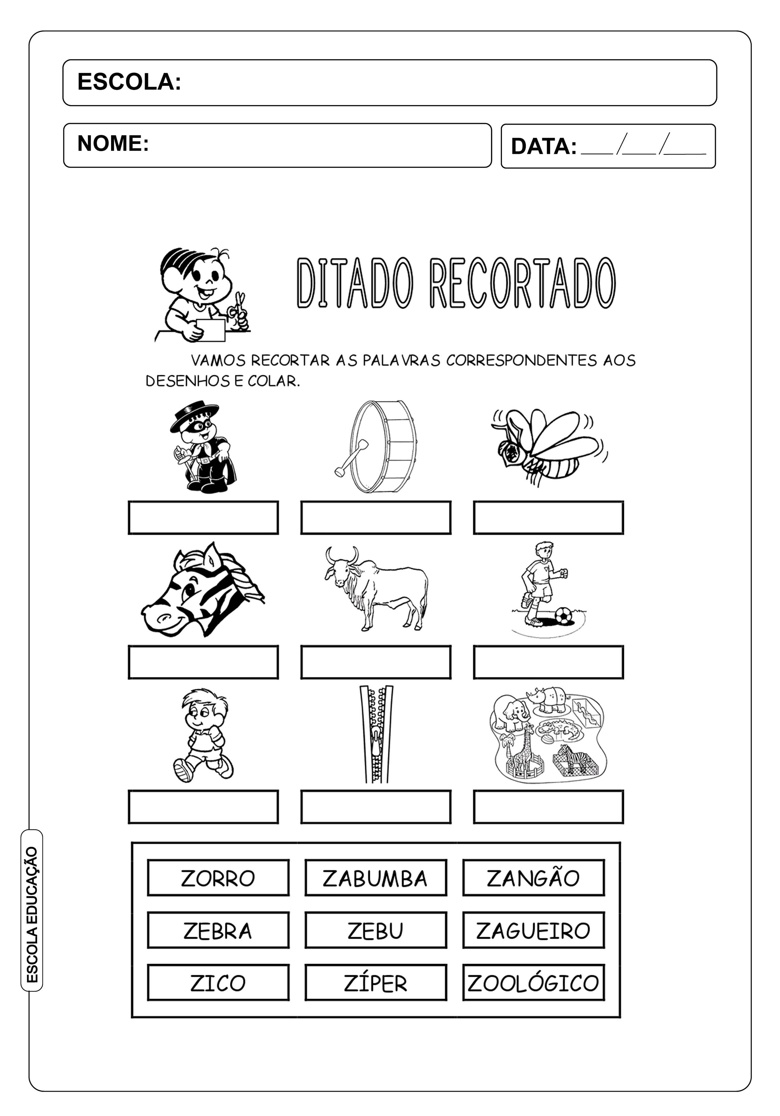 """Ditado Recortado: Atividades com a letra do alfabeto """"z"""""""
