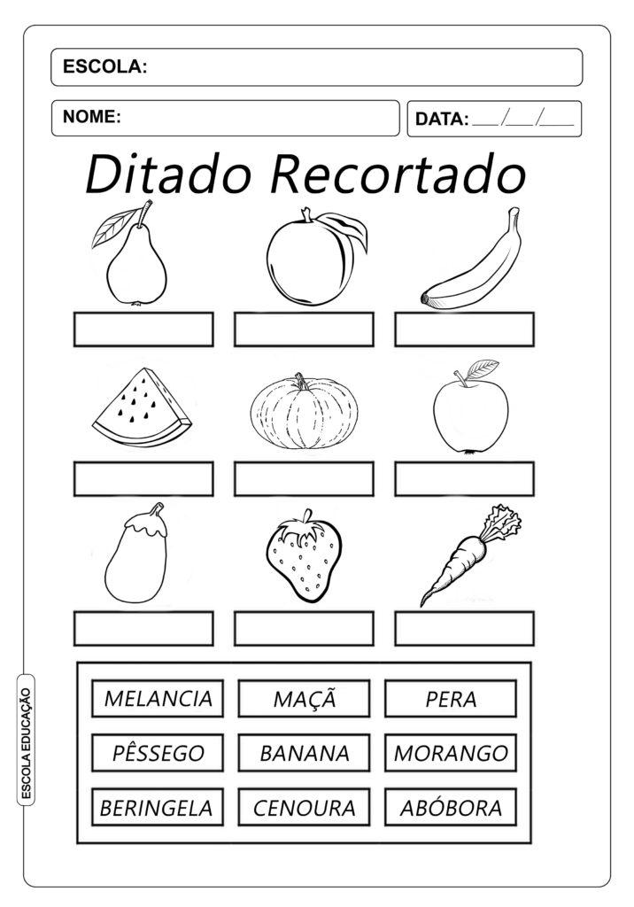Ditado Recortado: Atividades com frutas e legumes
