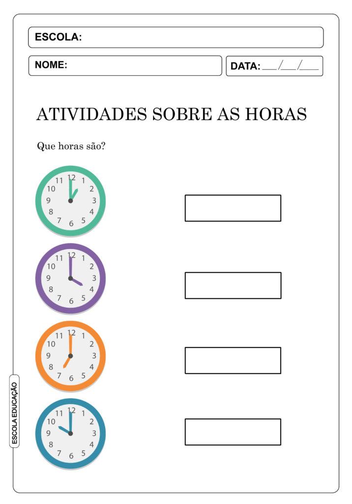 Atividades sobre as horas e minutos - atividades para aprender as horas