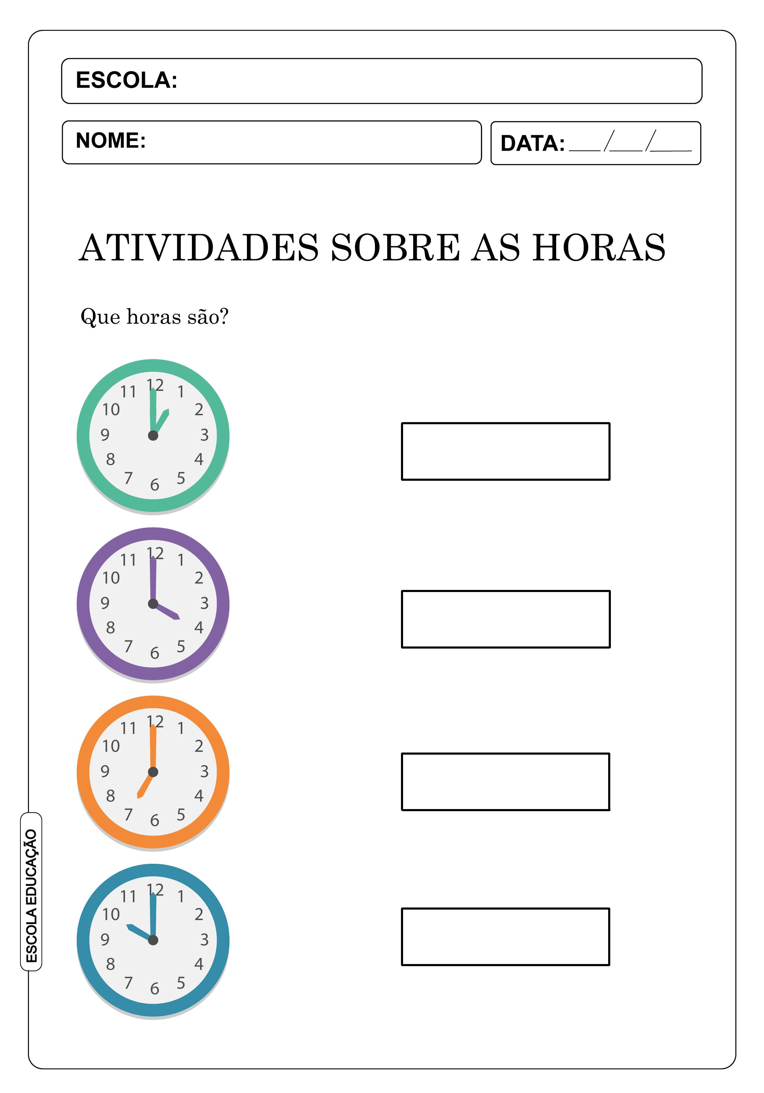 Atividades sobre as horas e minutos – atividades para aprender as horas