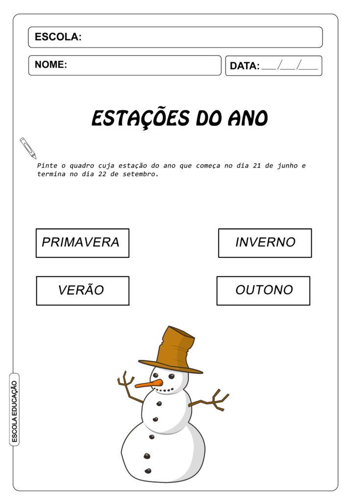 Atividades sobre inverno - Atividades para Imprimir