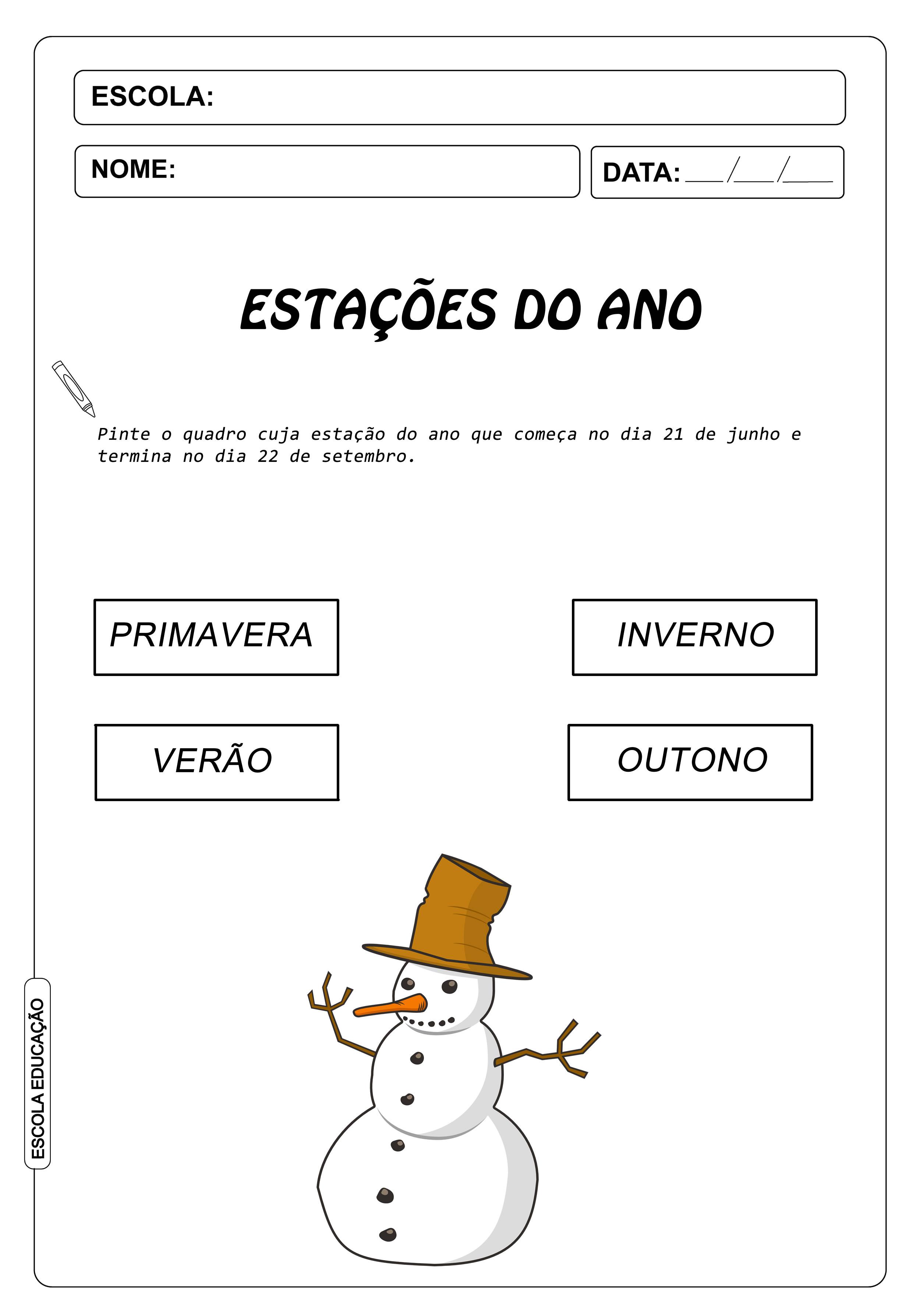 Atividades sobre inverno – Atividades para Imprimir