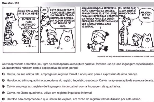 Calvin e Haroldo na prova do Enem