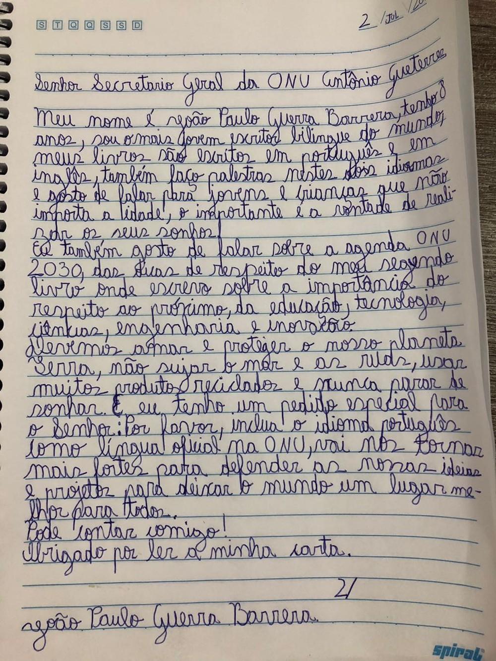 Carta escrita por João Paulo Guerra Barrera
