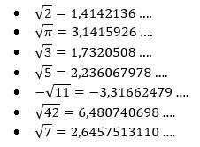 Raiz Quadrada Não exata - Exemplos - Números Irracionais