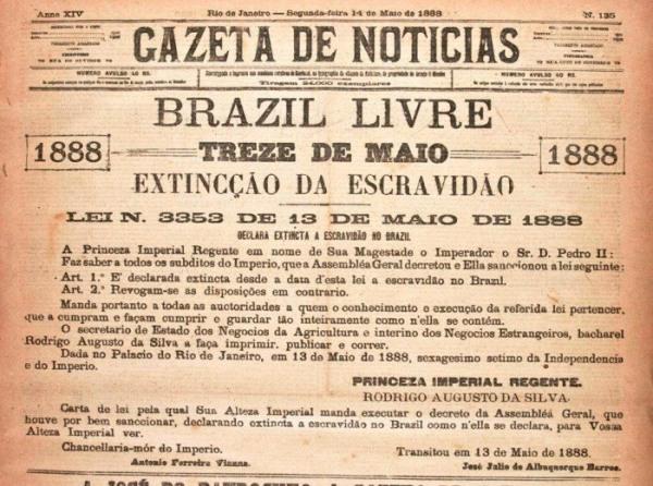 """Edição do jornal """"Gazeta de Notícias"""" de 13 de maio de 1888"""