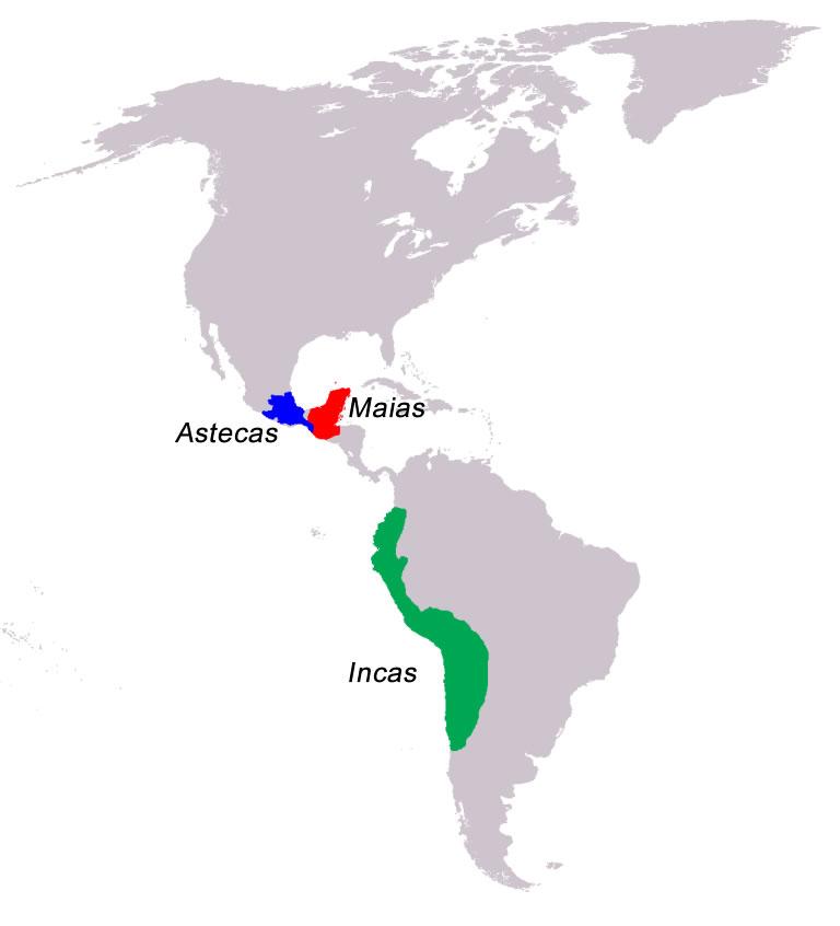 Mapa indicando a localização das civilizações Incas, Maias e Astecas