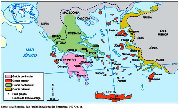 mapa Grécia antiga