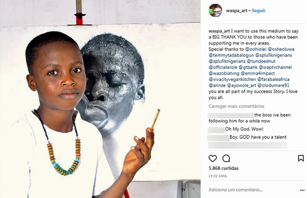 Nigeriano de 11 anos e desenhos hiper realistas