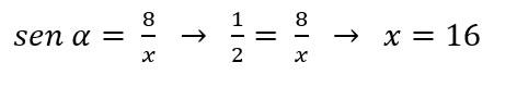 Resultado exercício de triangulo retângulo