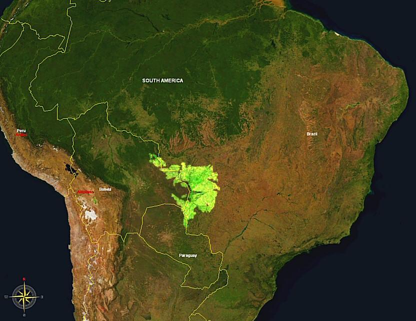 Localização do Pantanal na América do Sul