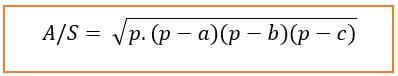 Área do Triângulo em função dos lados.