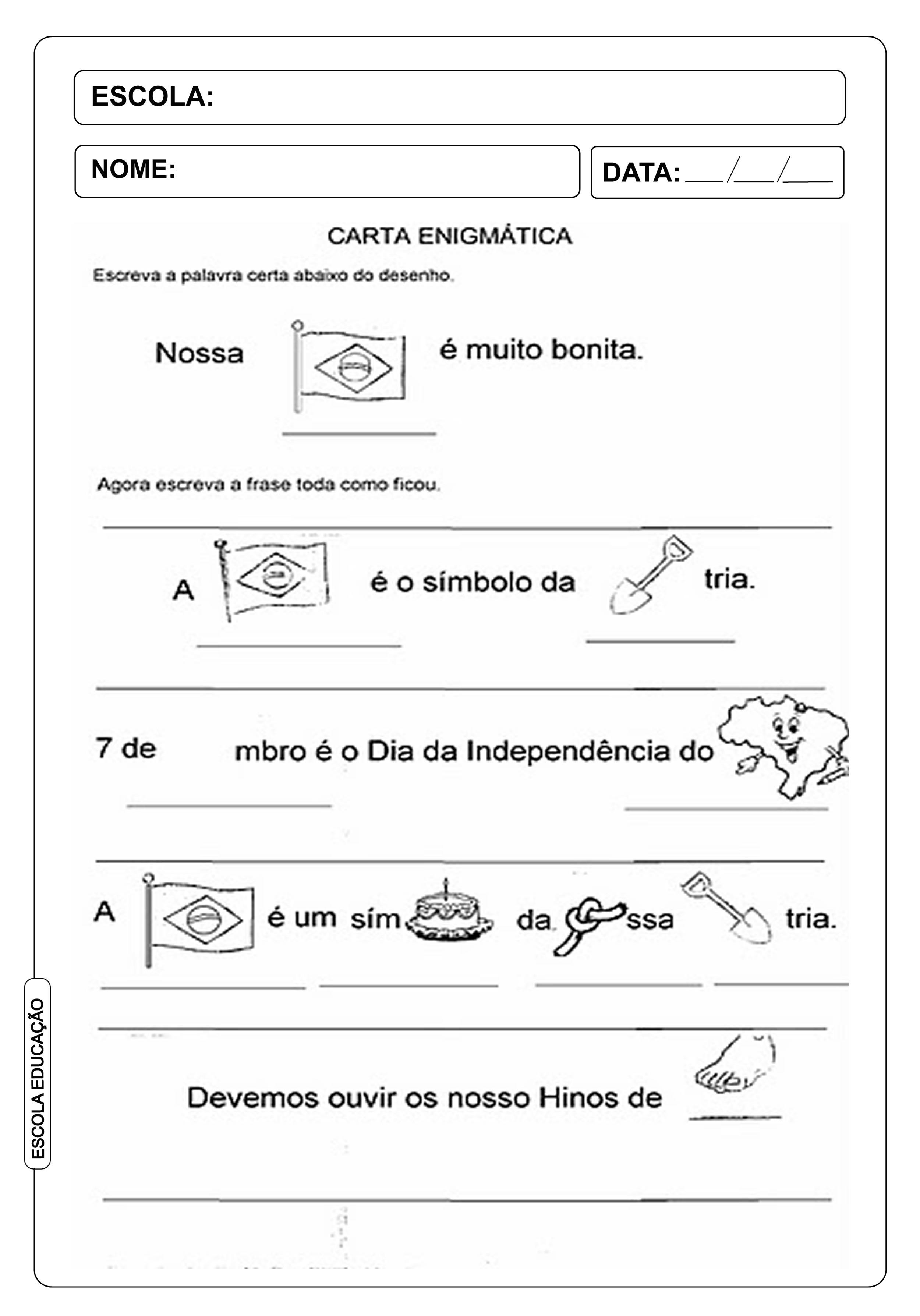 Atividade Independência do Brasil - Carta Enigmática