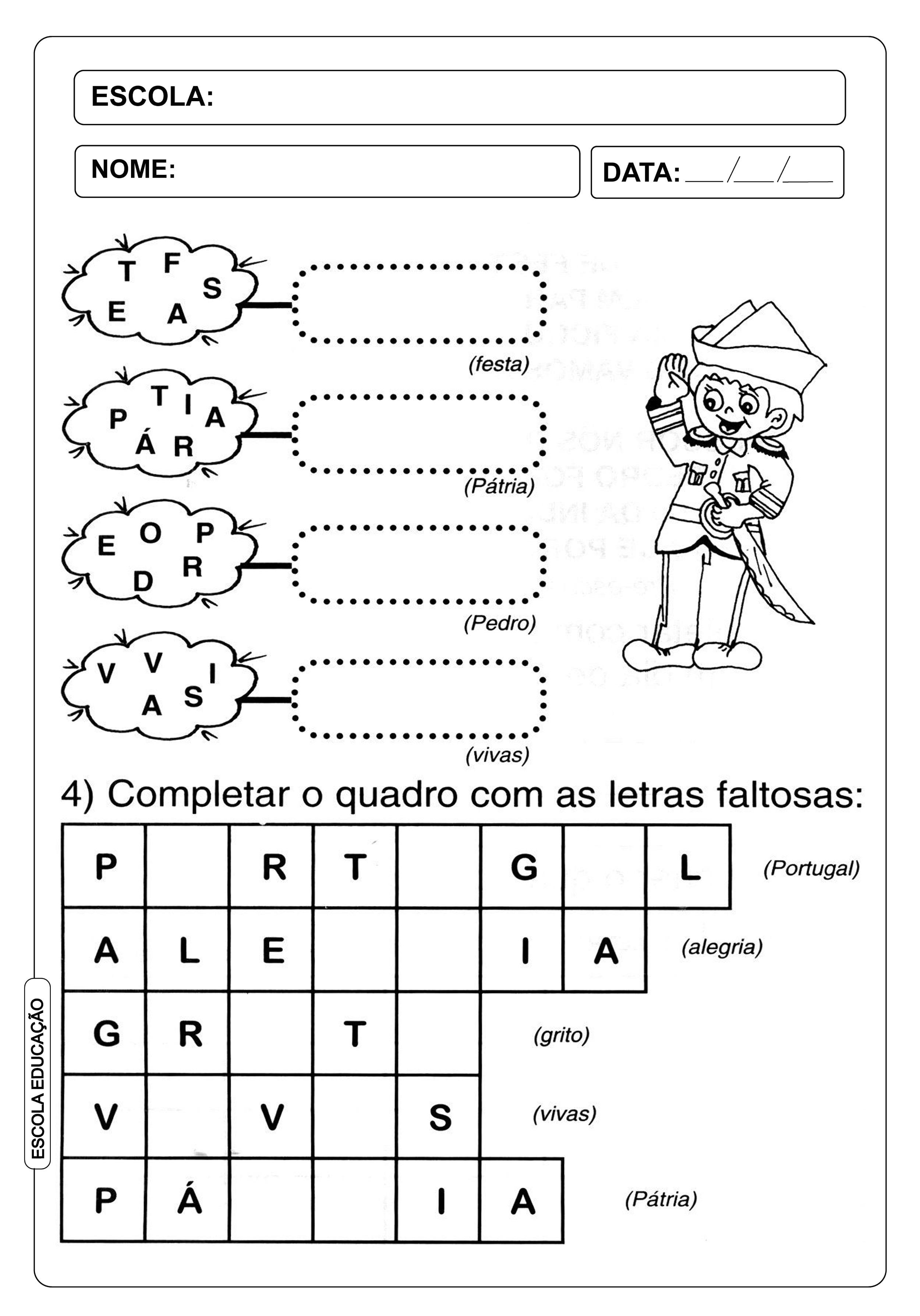 Atividade Independência do Brasil - Complete o quadro