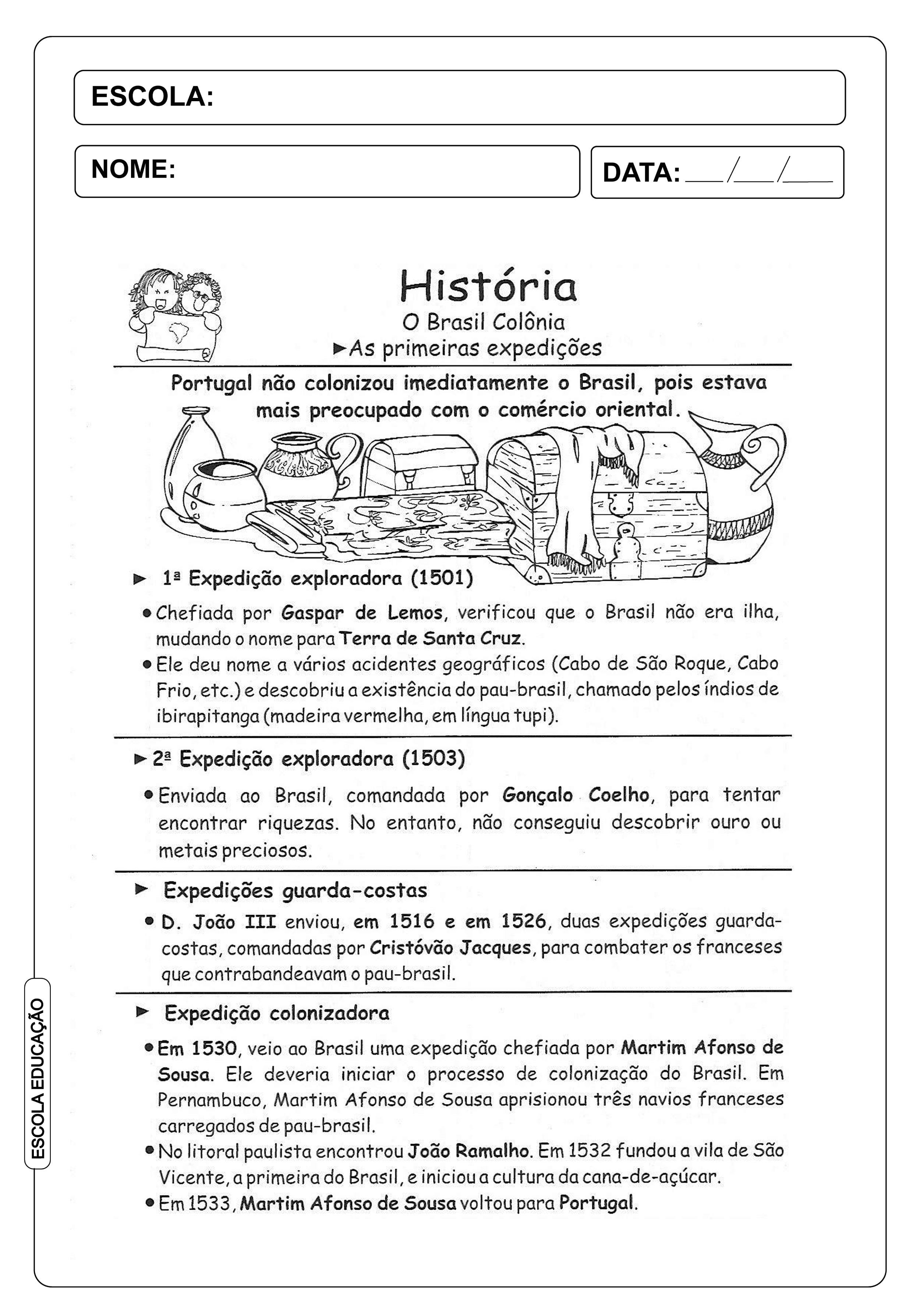Atividades sobre Brasil Colônia - 5º ano