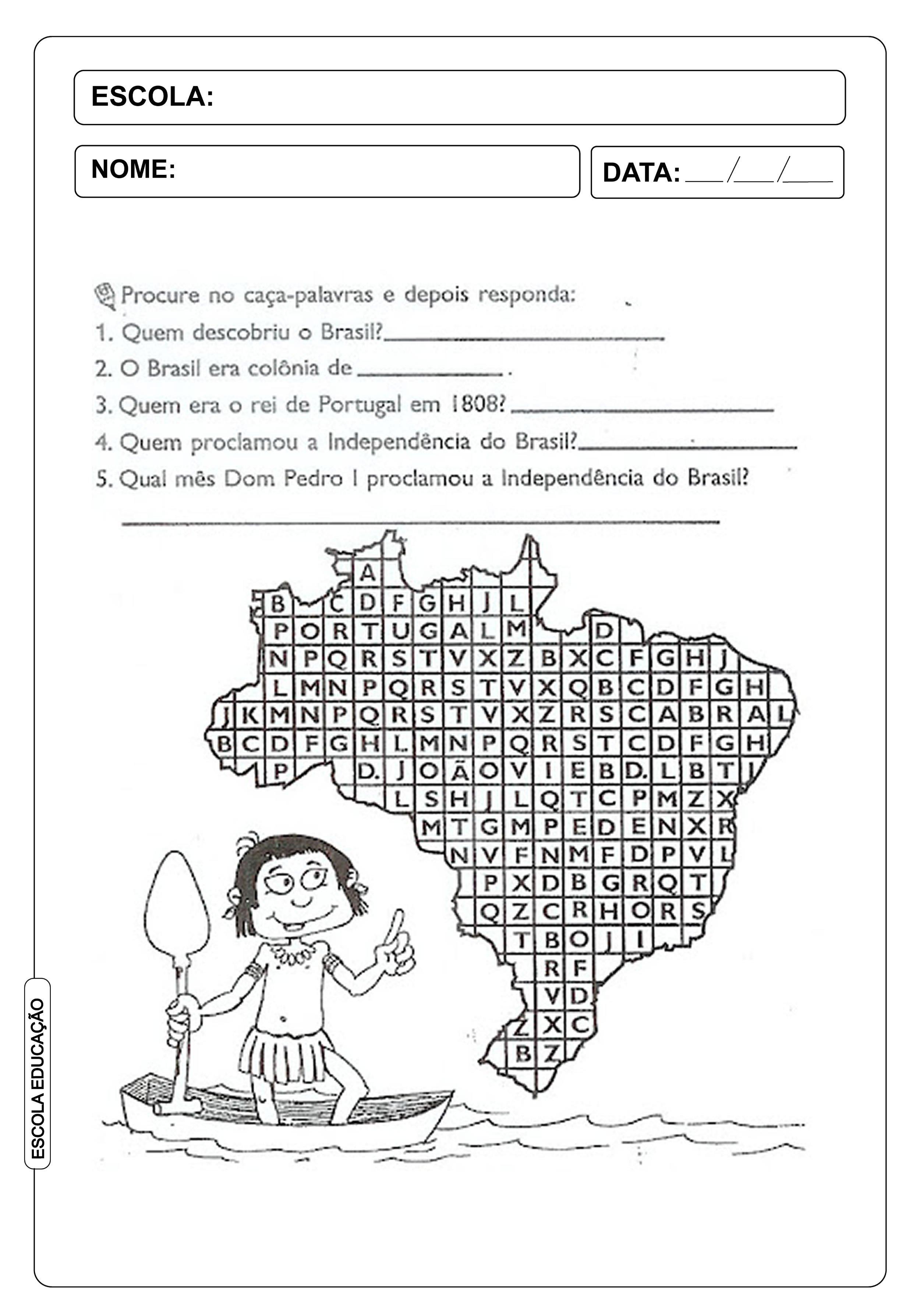 Atividades de caça-palavras com o tema da independência do brasil