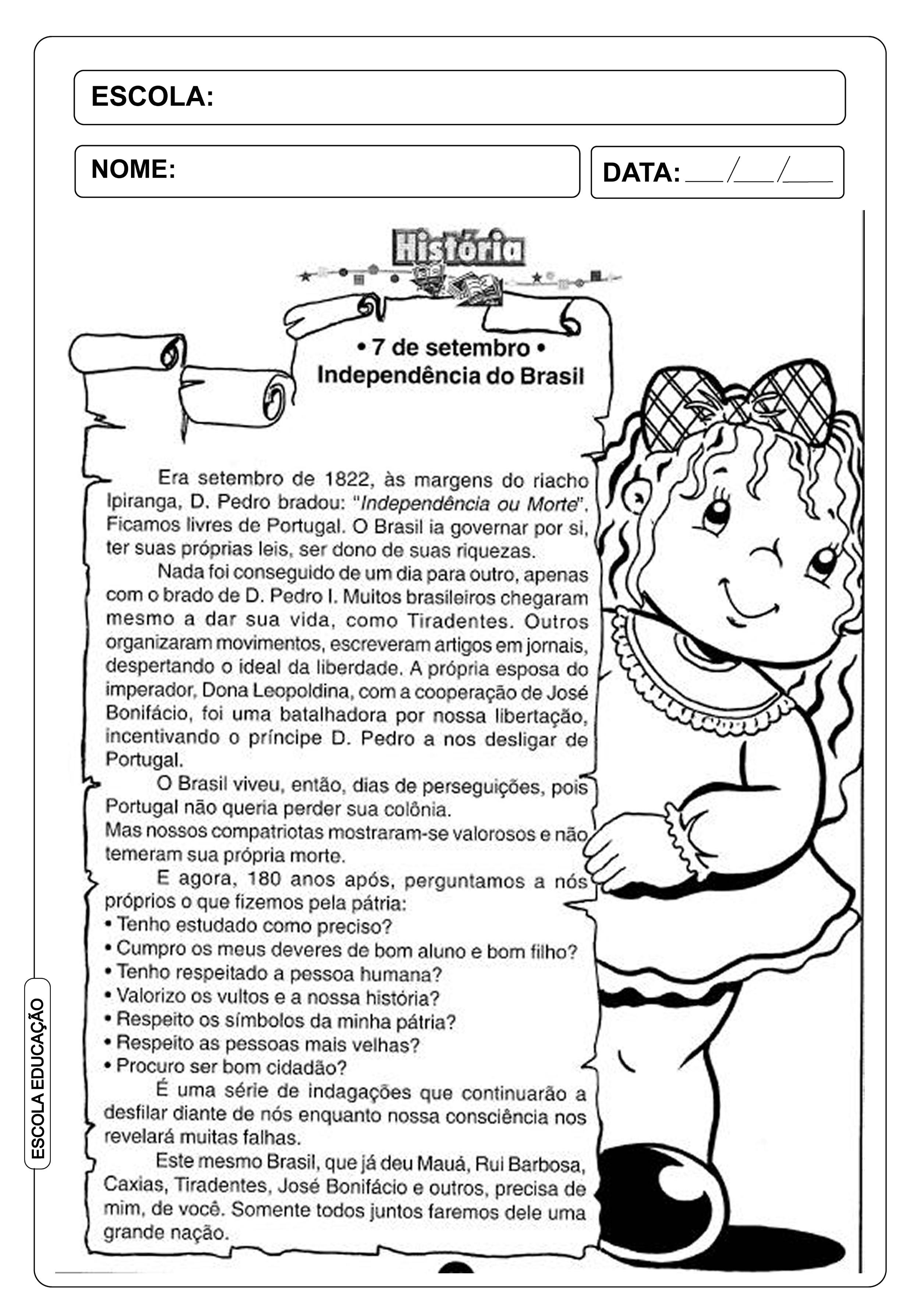 Atividade Independência do Brasil - 7 de Setembro