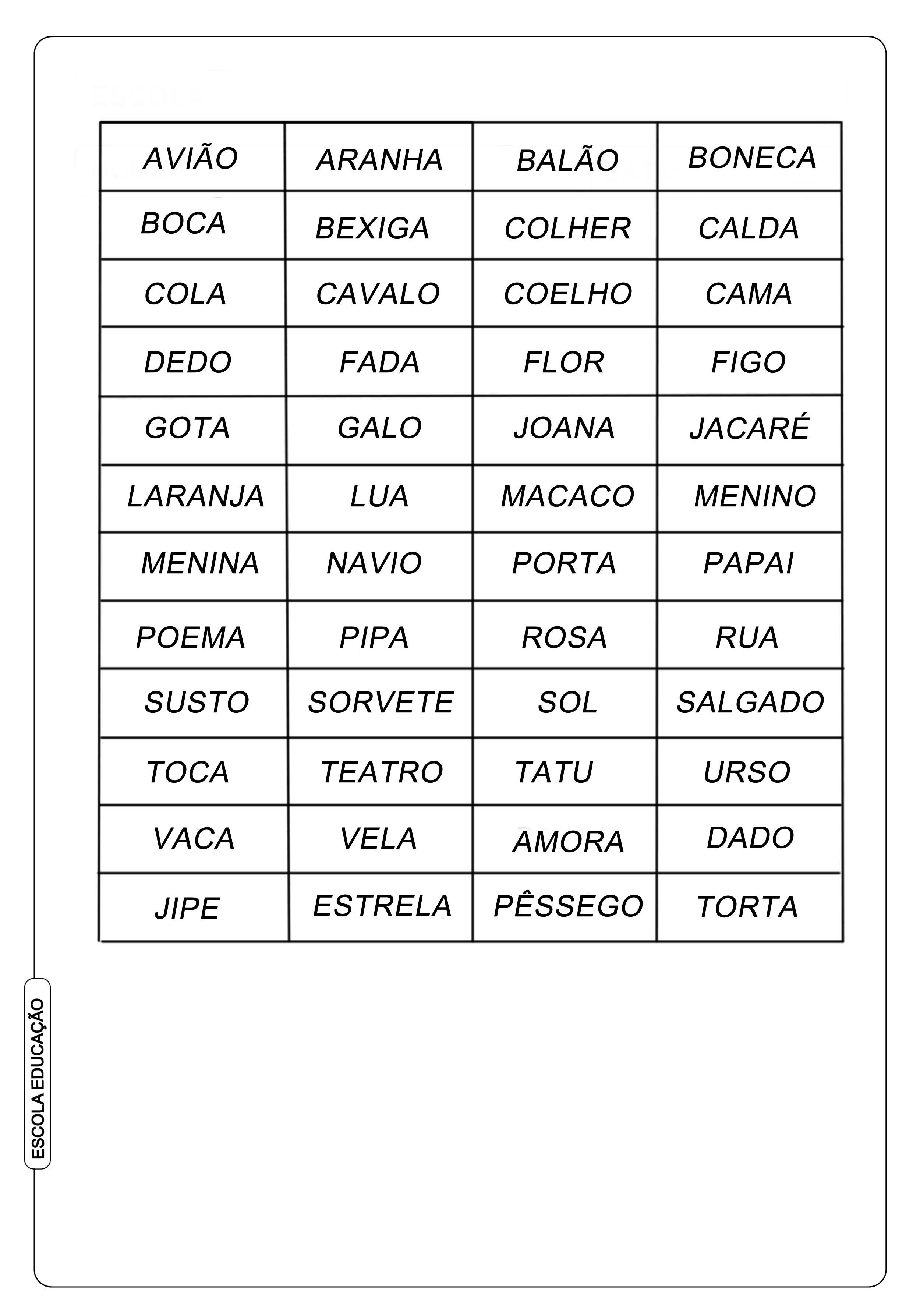 Bingo de Palavras para imprimir
