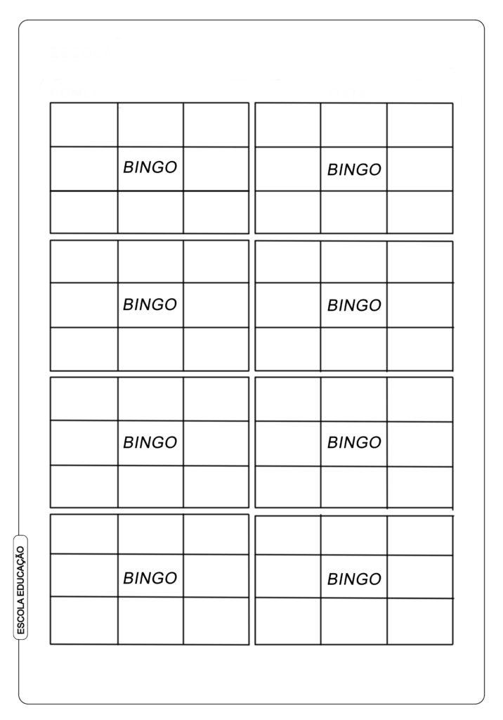 Cartela de Bingo de palavras para alfabetização