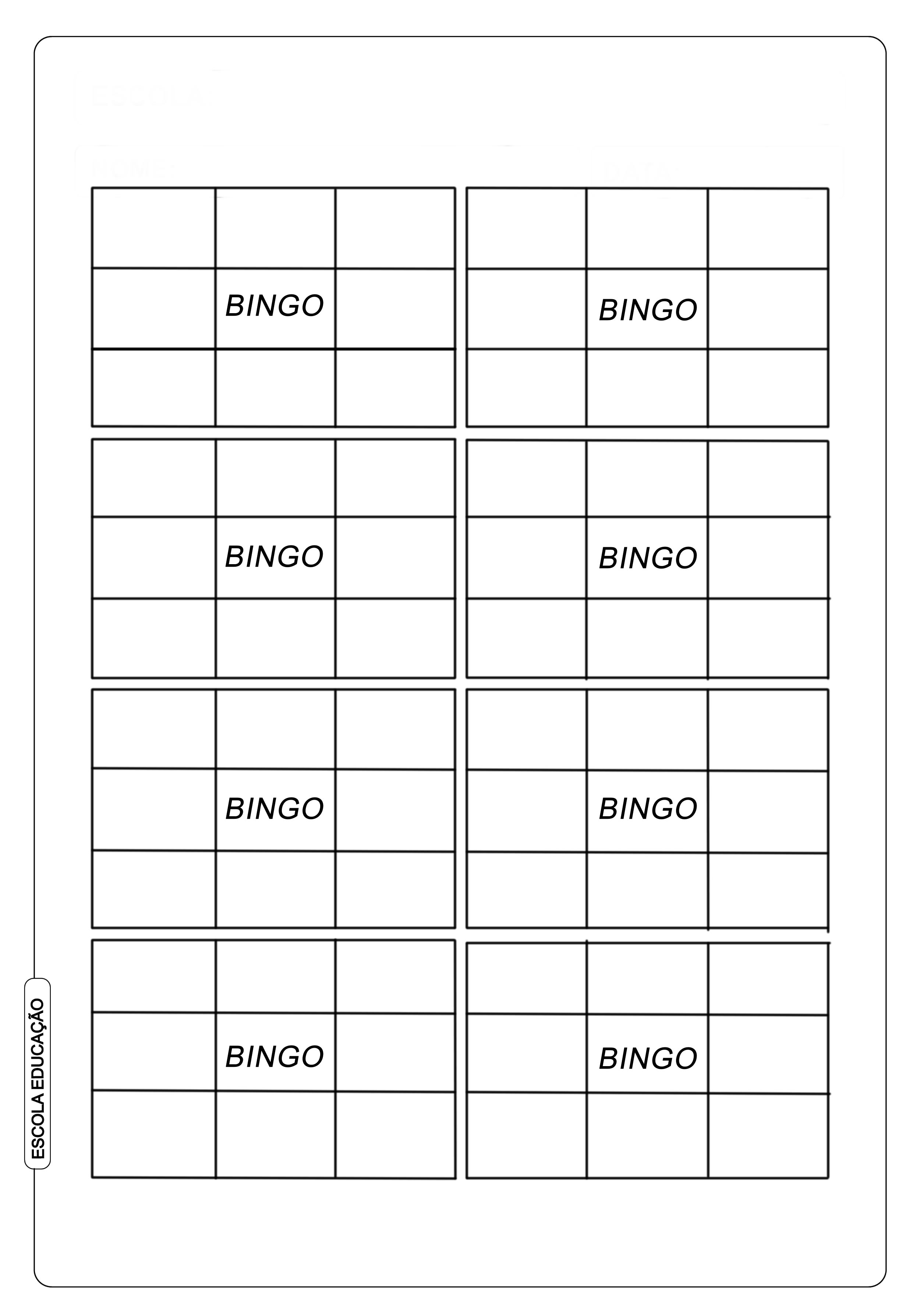 Cartela De Bingo De Palavras Para Alfabetizacao Escola Educacao