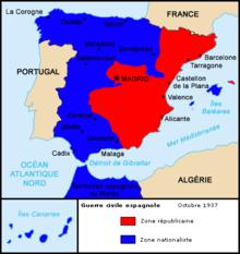 Mapa da situação da guerra civil espanhola em 1937