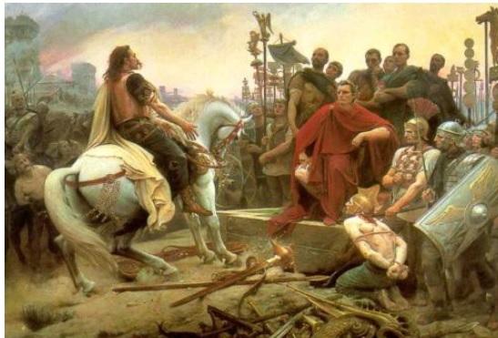No quadro de Lionel Royer, Vercingetorix se entrega aos romanos