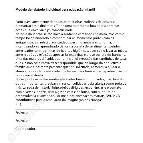 Relatório individual para educação