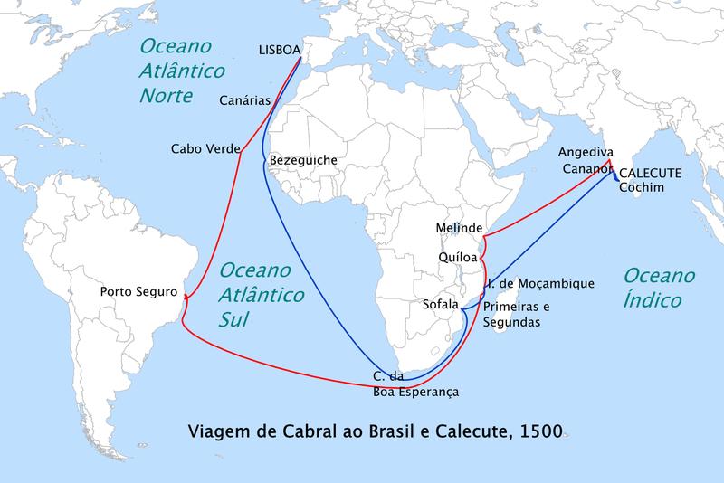 Rota realizada por Pedro Álvares Cabral e tripulação