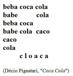 poemas visuais com interpretação: Coca Cola - Décio Pignatari