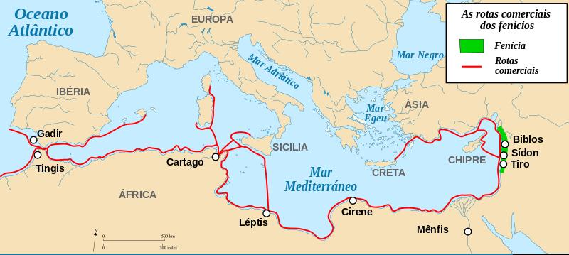 Rotas comerciais de Fenícia