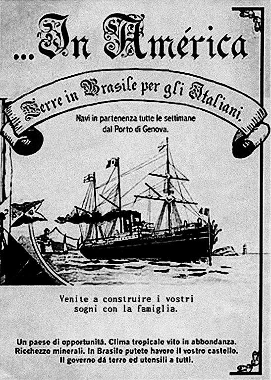 Cartaz sobre Imigração Italiana