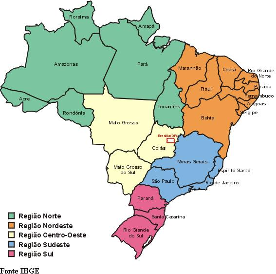 mapa do brasil com estados e capitais