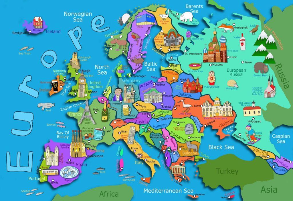 Mapa de Turismo da Europa