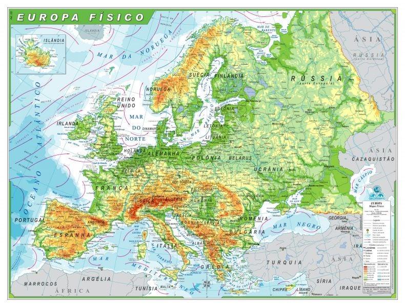 Mapa Físico da Europa