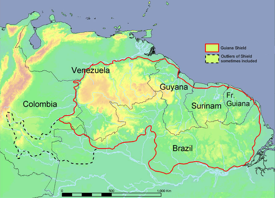 Mapa do Planalto das Guianas