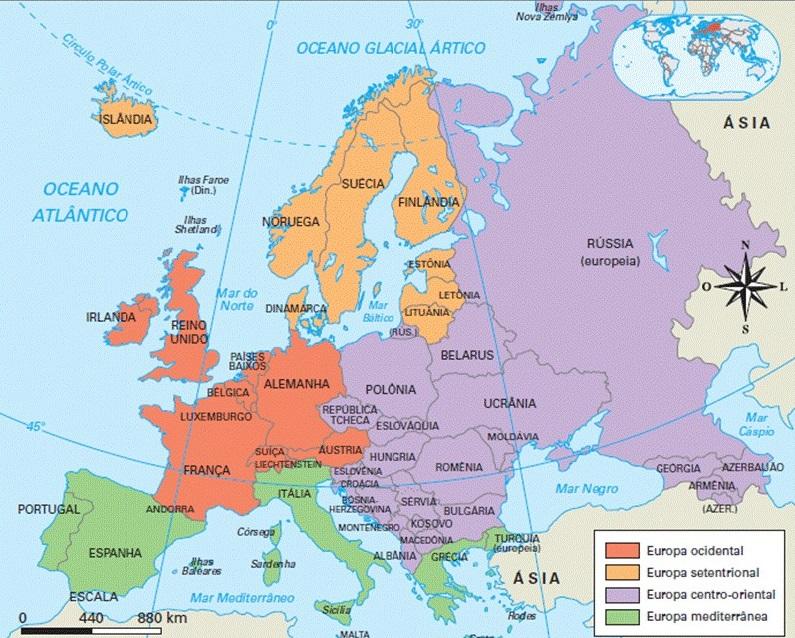 Mapa das regiões da Europa