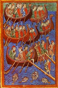 Representação dos vikings em seus barcos