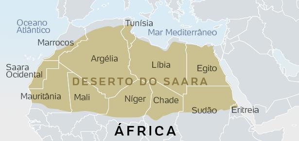 Deserto do Saara Mapa
