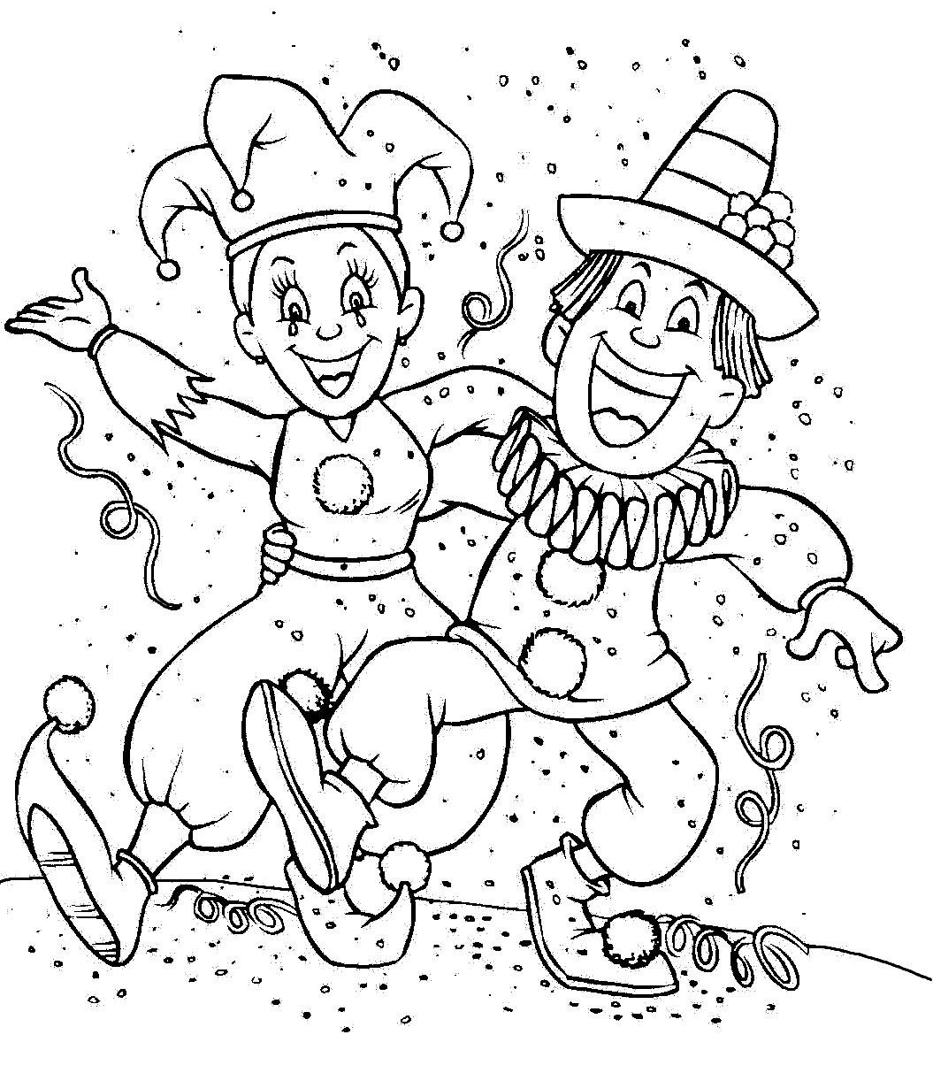 desenho de carnaval para colorir - Palhaços