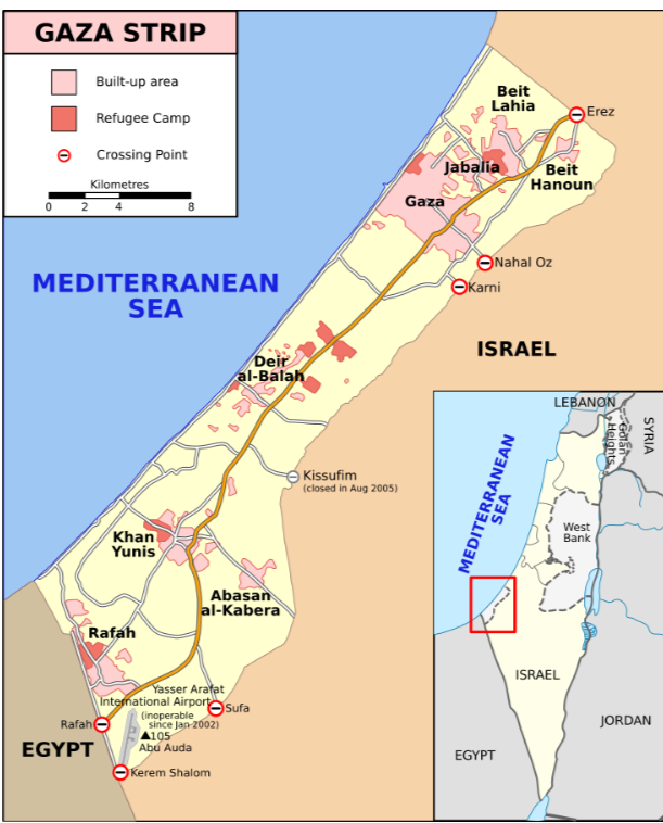 Mapa da Faixa de Gaza