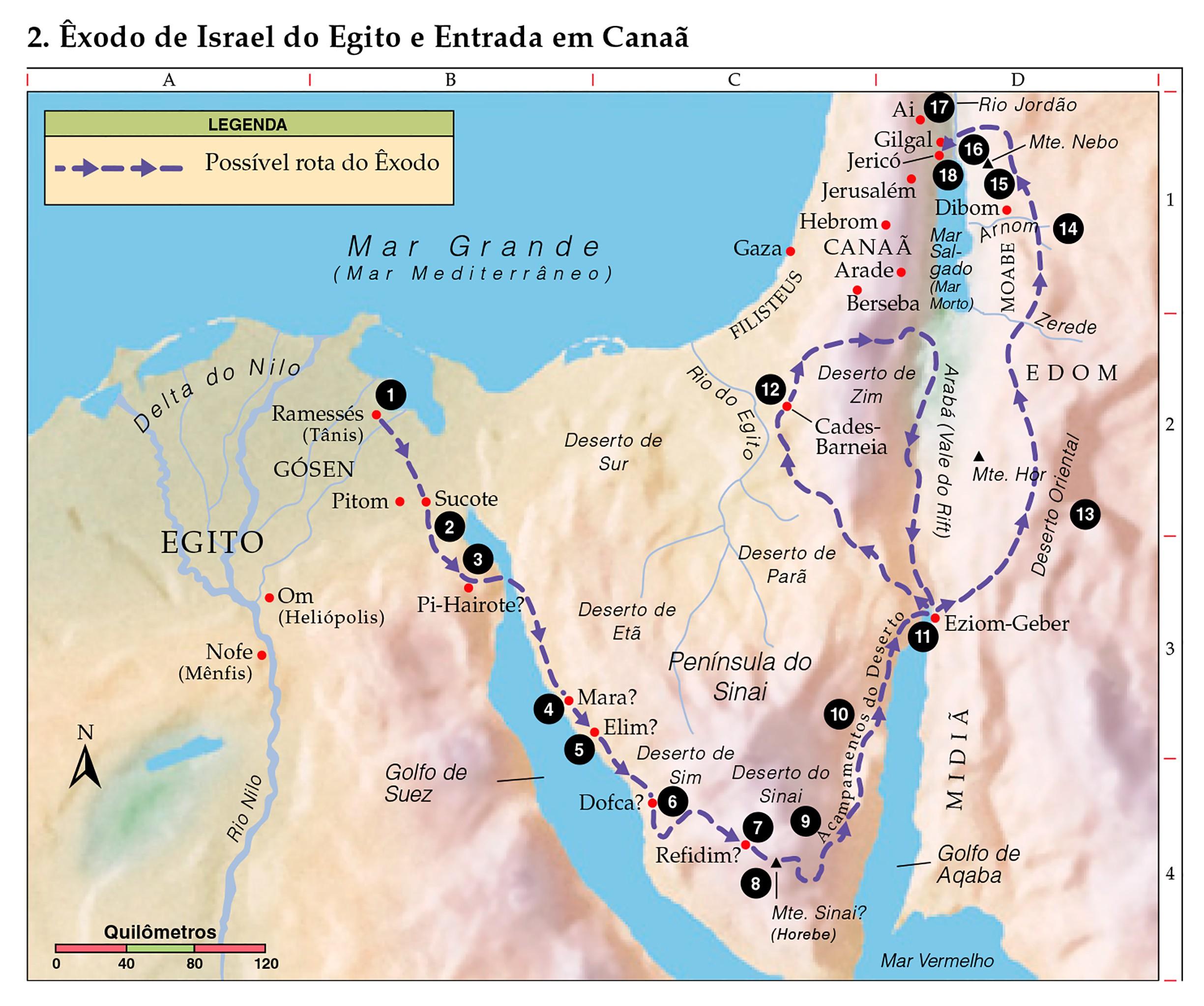 Mapa Êxodo de Israel do Egito e entrada em Canaã