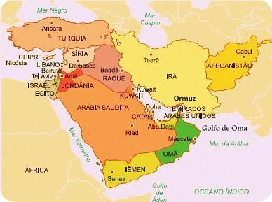 Mapa Do Oriente Medio Escola Educacao