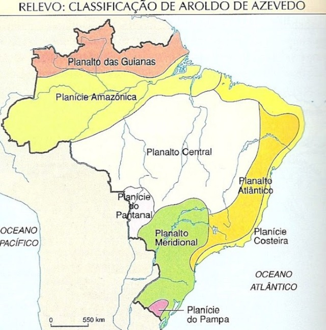 Mapa dos Planaltos Brasileiros