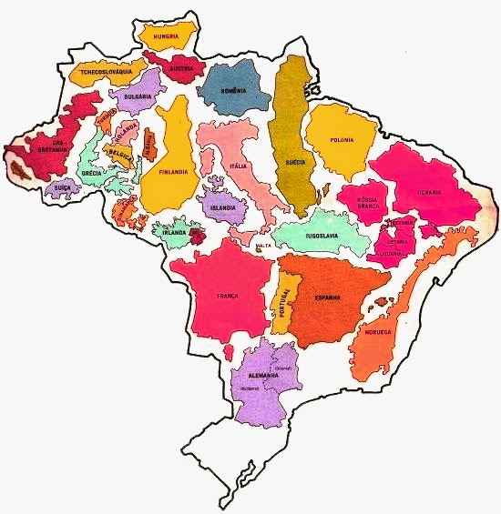Países europeus cabem no Brasil