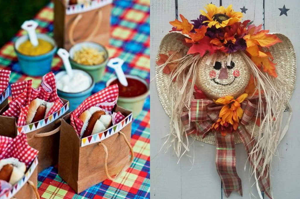 Chapéu de palha decorado como bonequina e suporte de saco de papel para cachorro quente